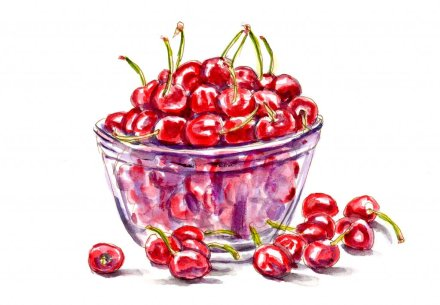 Day 19 - Bowl of Cherries Watercolor - #doodlewashJune2018 Doodlewash