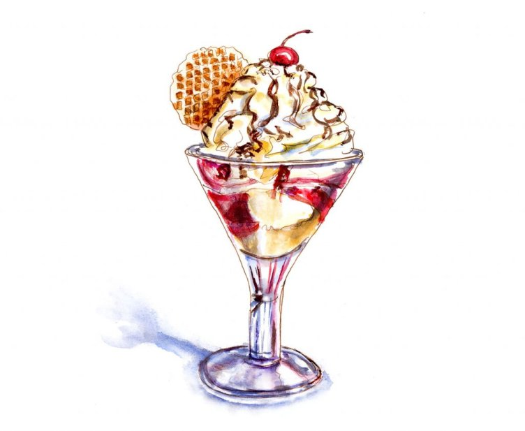 Day 20 - A Little Indulgence Ice Cream Sundae Watercolor - #doodlewashJune2018 Doodlewash