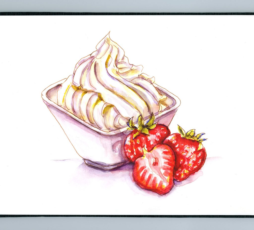 Day 25 - Strawberries And Whipped Cream - #doodlewashJune2018 Doodlewash