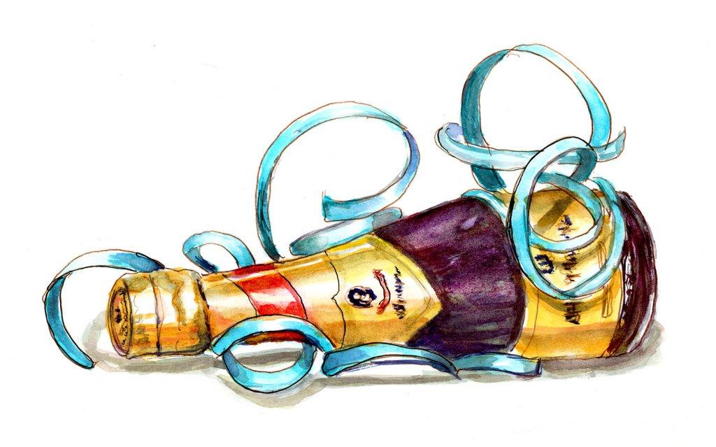 Day 30 - Champagne Bottle Watercolor Celebrate - #doodlewashJune2018 Doodlewash