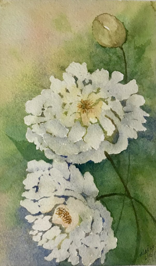 """Pure White""… Mijello Mission Gold Watercolors on Arches Journal… 5″ x"