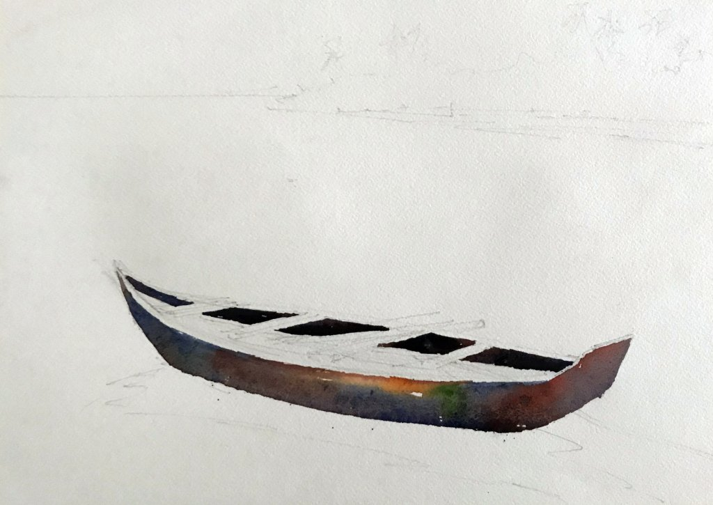 Watercolor Tutorial Painting A Boat And Water Sujit Sudhi - Stage 2 - Doodlewash