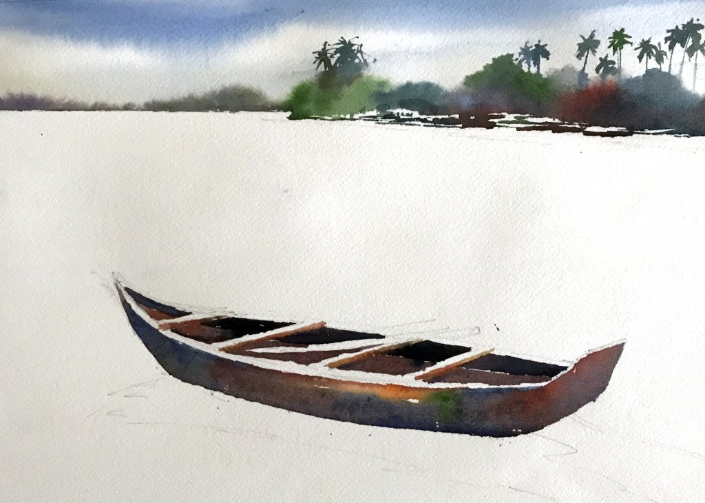 Watercolor Tutorial Painting A Boat And Water Sujit Sudhi - Stage 4 - Doodlewash