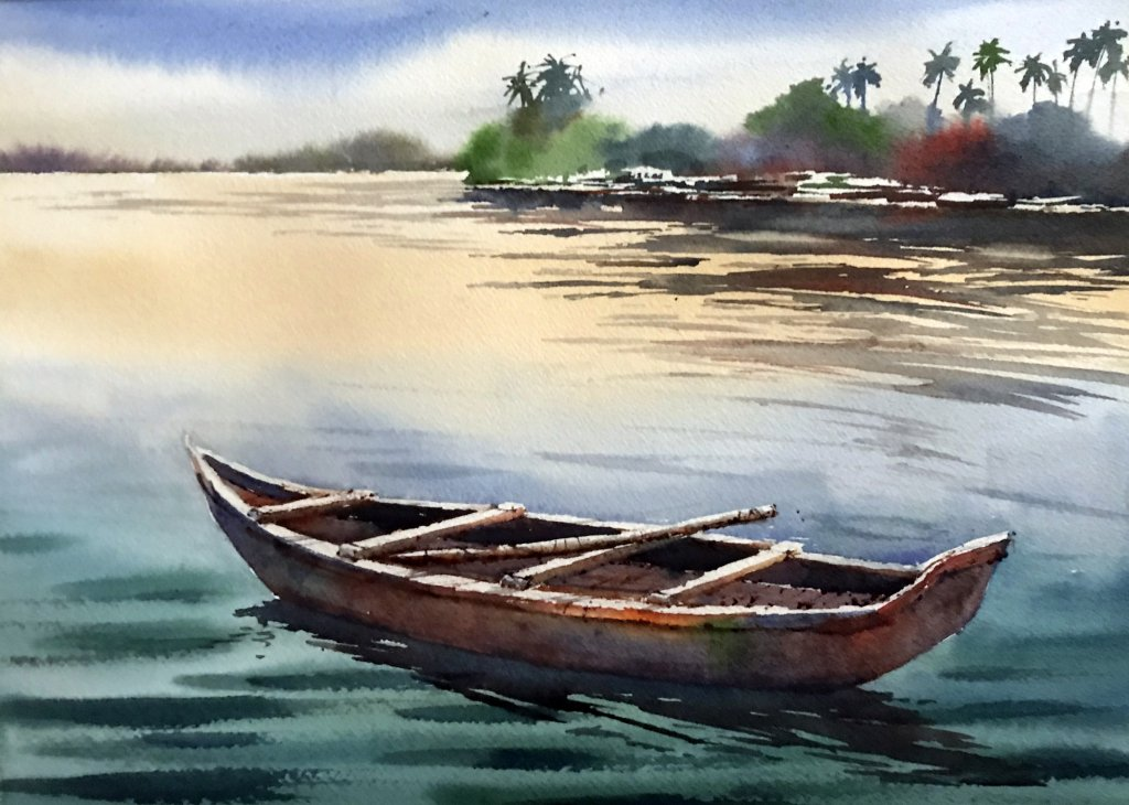 Watercolor Tutorial Painting A Boat And Water Sujit Sudhi - Stage 8 - Doodlewash