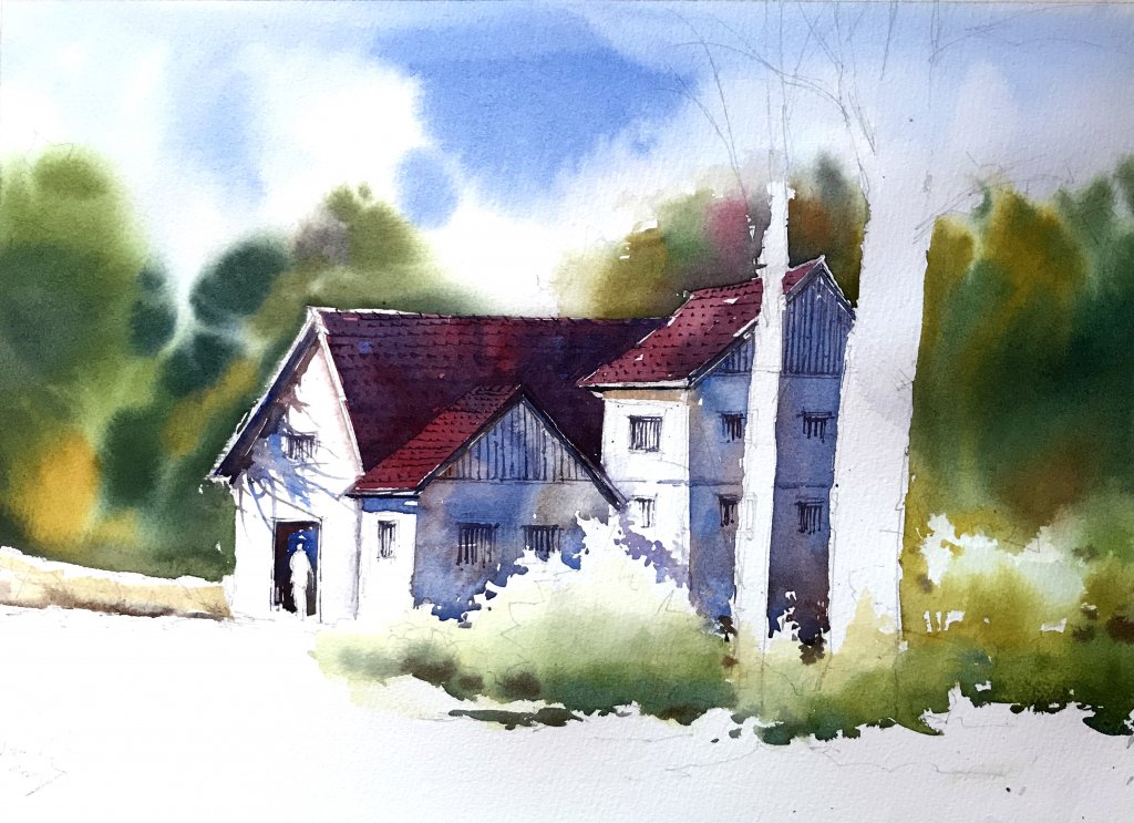 WATERCOLOR TUTORIAL Step 4: Painting A Countryside Mansion by Sujit Sudhi