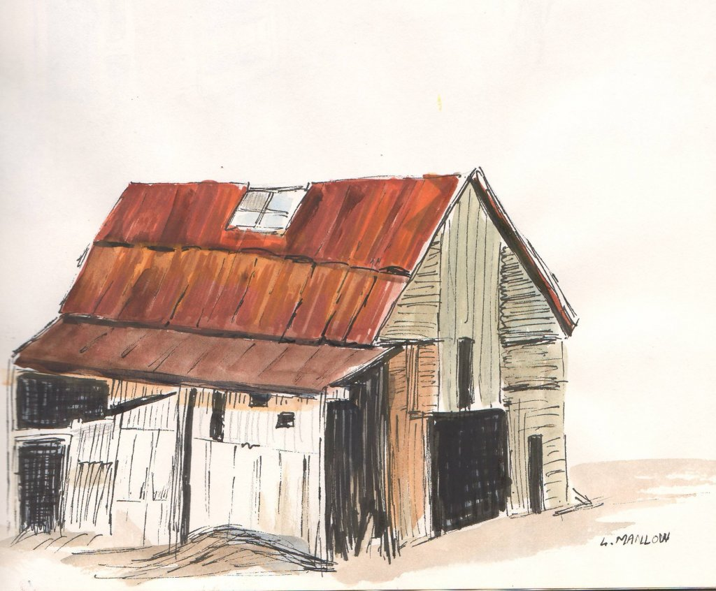 Watercolour and ink. barn ink and watercolour