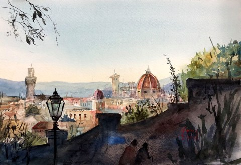 Watercolor Painting Florence, Italy by Hema Gupta - Doodlewash #WorldWatercolorGroup