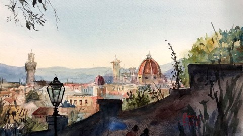 Watercolor Painting Florence, Italy by Hema Gupta - Doodlewash #WorldWatercolorGroup