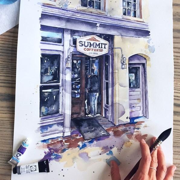 Davidson, North Carolina Watercolor Esther Moorehead - Doodlewash