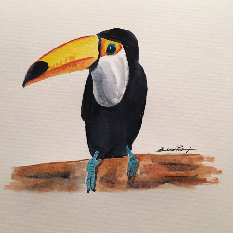 Day 18: In The Jungle – Toucan an unusual and brightly colored bird. #worldwatercolormonth #wo
