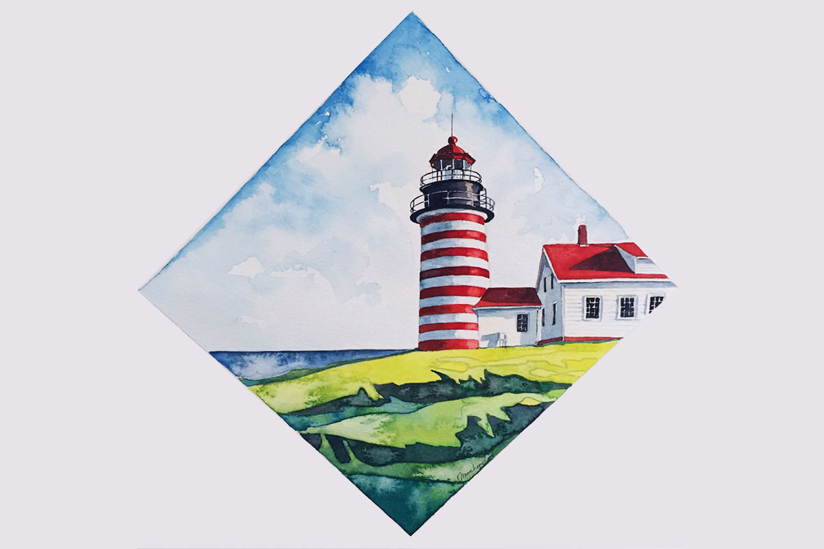West Quoddy Head Lighthouse, Maine, USA - watercolor Esther Moorehead - Doodlewash