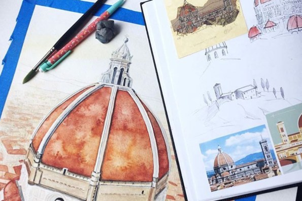 Duomo in Florence, Italy watercolor Esther Moorehead - Doodlewash