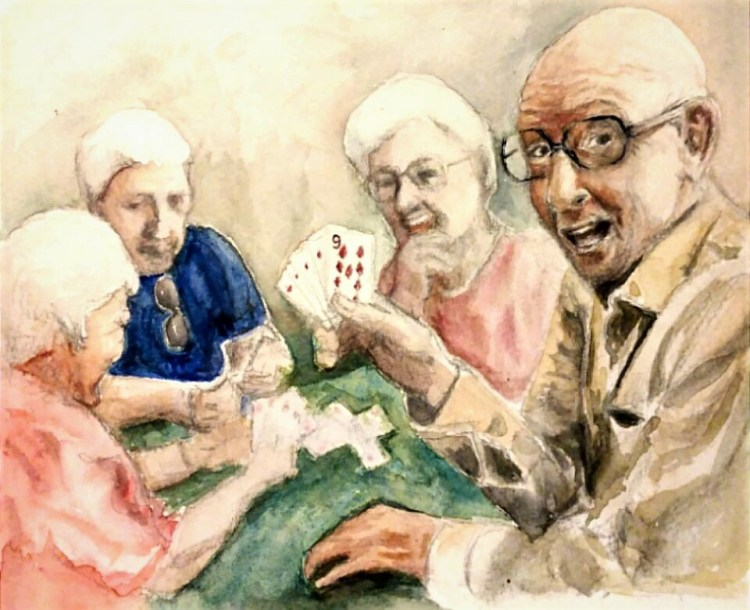 #worldwatercolormonth prompt #cardgame #ginrummy #smiles #watercolor painting on Strathmore 140lb pa