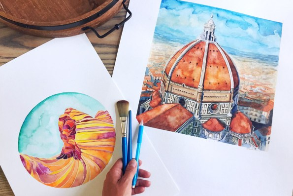 Arizona Landscape and Florence Italy Dome watercolors Esther Moorehead - Doodlewash
