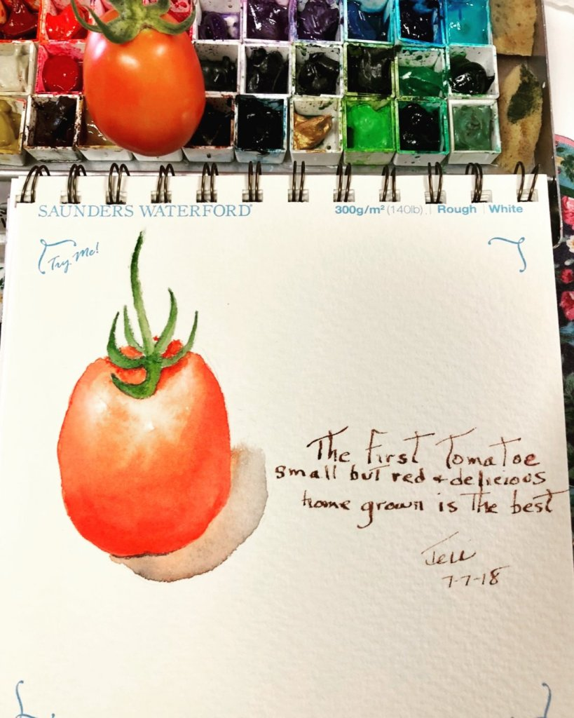 We got our first ripe Roma tomato! I just had to paint it. Now we can eat it. Haiku: 'the firs