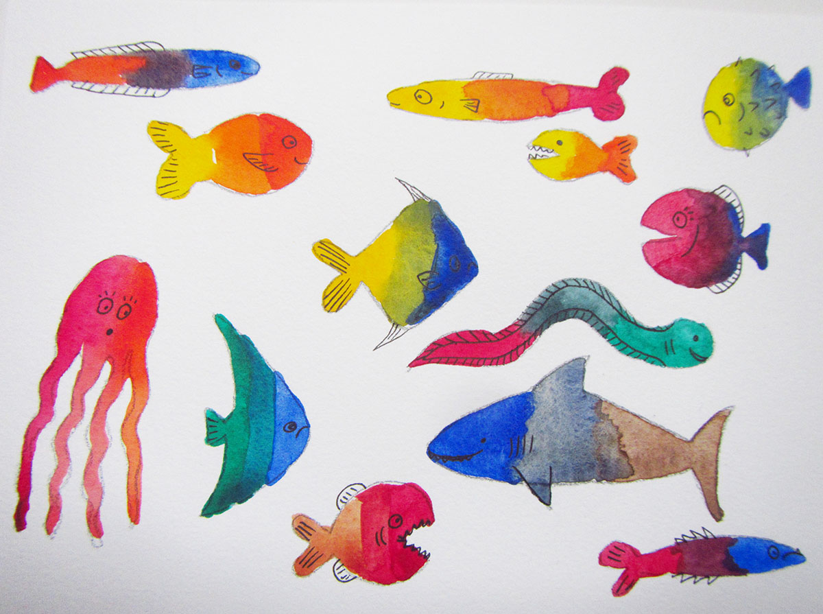 Fish sketches - easy watercolor project for kids - Adding details with pen