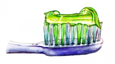 Day 10 - World Watercolor Month Light And Luminous Toothbrush - Doodlewash