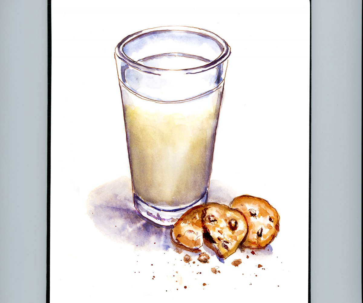Day 20 - World Watercolor Month Wet And Dry Cookies And Milk - Doodlewash