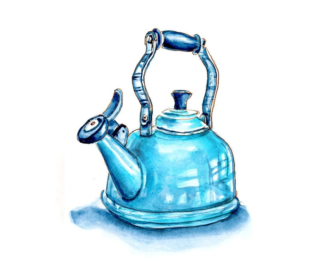 Day 24 - World Watercolor Month Monochromatic Mood Teapot - Doodlewash