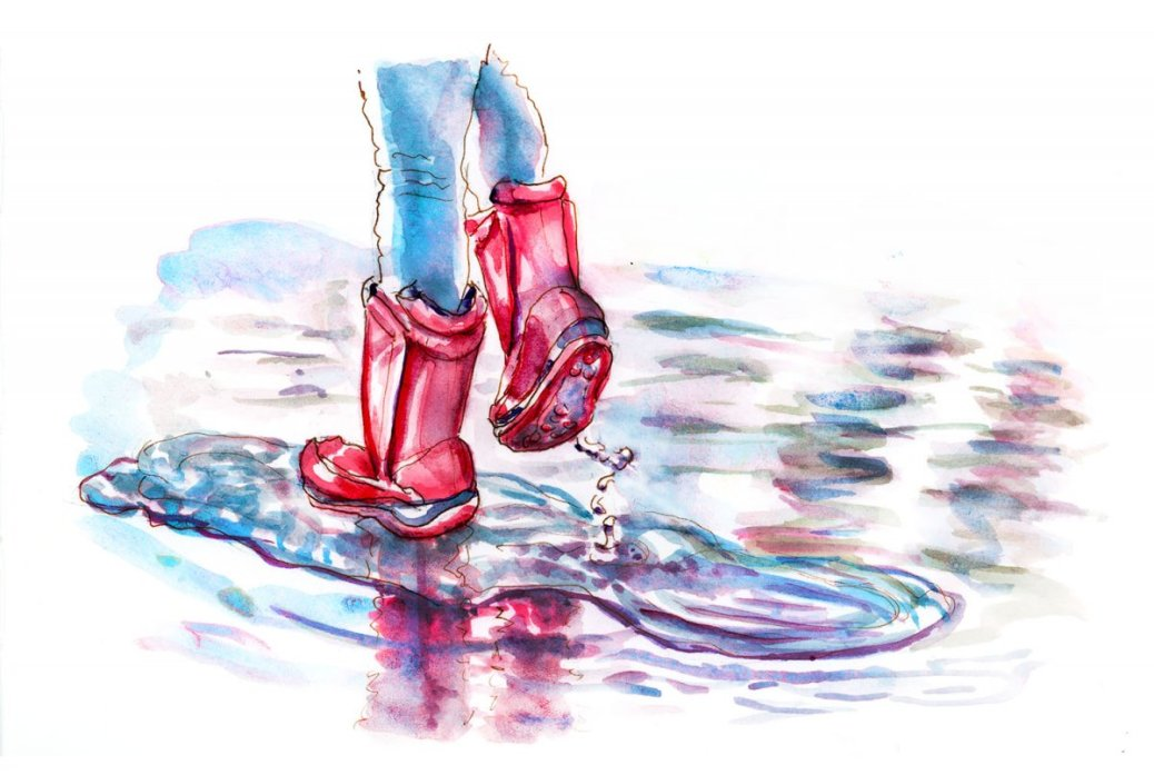 Day 26 - World Watercolor Month Splashing Around Kid Rain Boots - Doodlewash