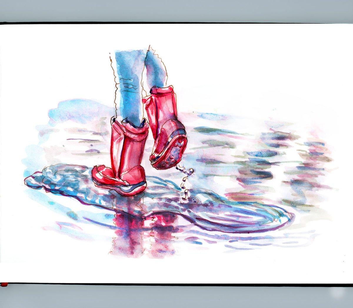 Day 26 - World Watercolor Month Splashing Around Kid Rain Boots - Doodlewash