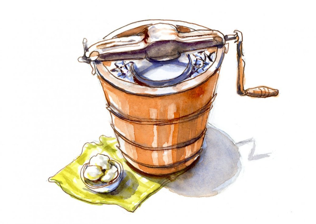 Day 29 - World Watercolor Month Childhood Memory Homemade Ice Cream Crank - Doodlewash