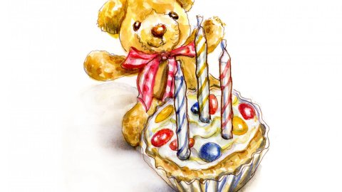 Day 3 - Doodlewash Turns Three Cupcake Teddy Bear #WorldWatercolorMonth