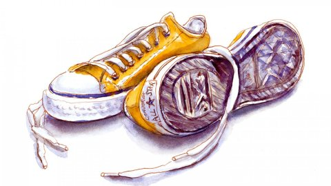 Day 6 - World Watercolor Month Simple Things Converse Sneakers - Doodlewash