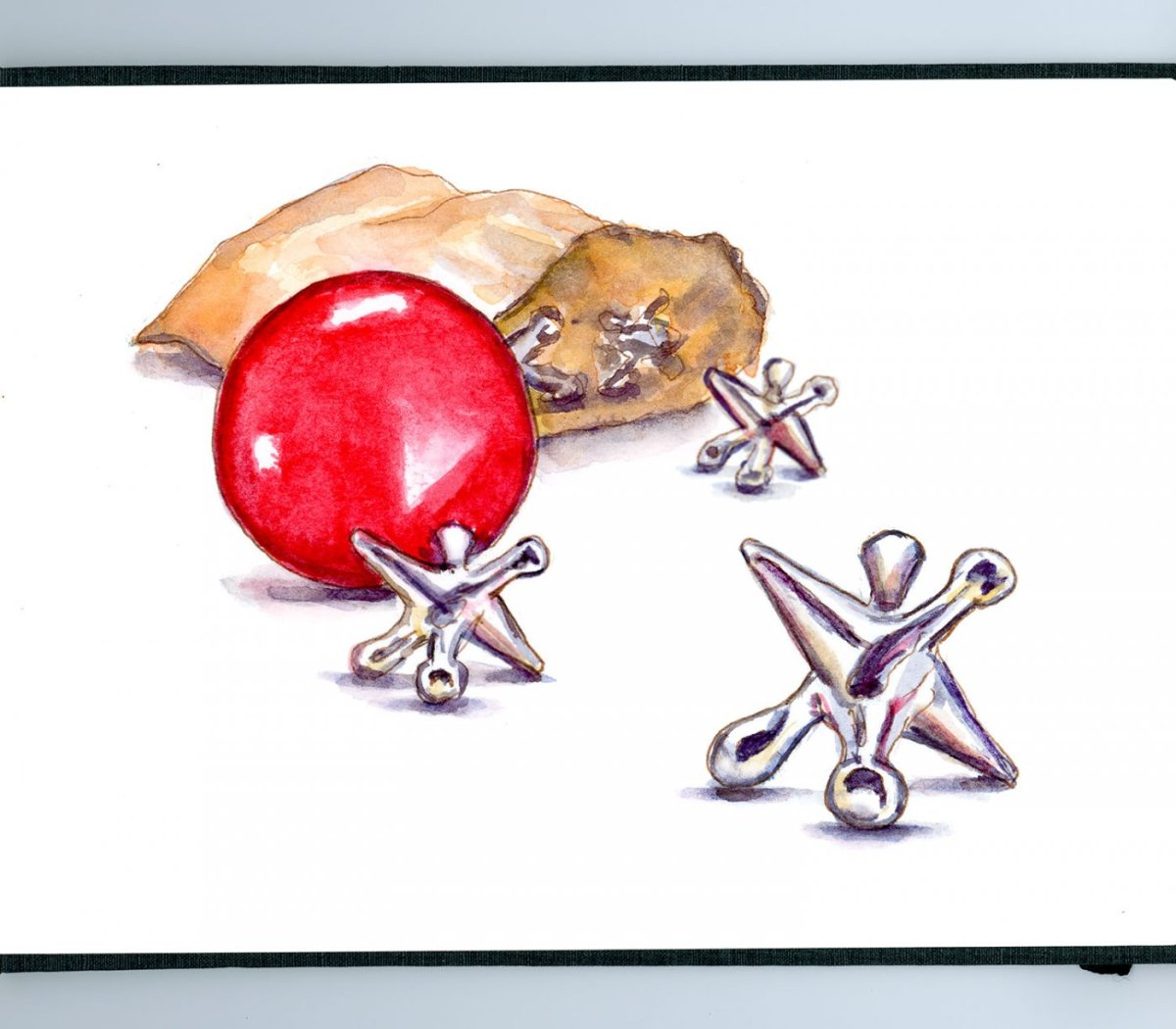 Day 7 - World Watercolor Month Playing Games Jacks - #WorldWatercolorMonth - Doodlewash