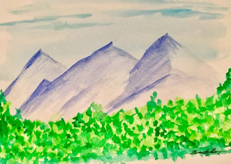 Day 9: Climbing Mountains – Quick landscape. Not my strongest subject, but practice! #worldwat