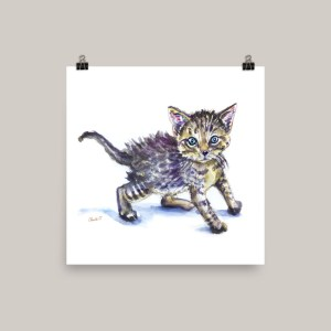 Kitten Watercolor Print Furry Creatures - Doodlewash