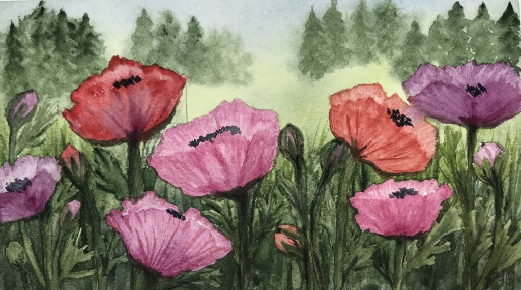 """The Edge of the Garden""… Daniel Smith Watercolors on Arches Journal… 8.5&#8"