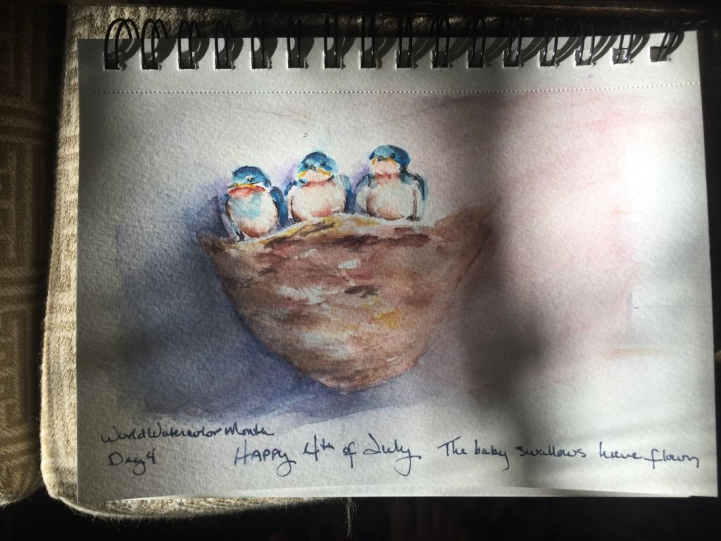 Day 4 #Worldwatercolormonth. Family Moments. Happy 4th of July, the baby swallows are flying now. (I