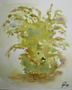 """Day 17 A bush called """"Seringa"""" in French, from my garden. Playing with Yellow Cambodge,"""