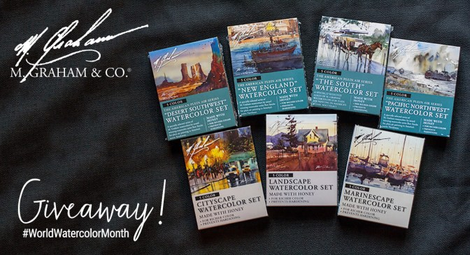 M Graham World Watercolor Month 2018 Giveaway Share Graphic