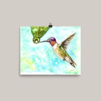 Hummingbird Watercolor Print