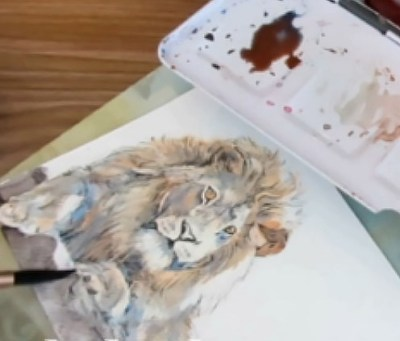 How To Paint A Lion In Watercolor - Rocks - Doodlewash
