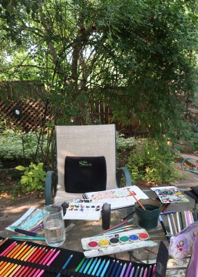 Not a very exotic location– on my patio. There were no clouds in the blue Colorado sky, no rai