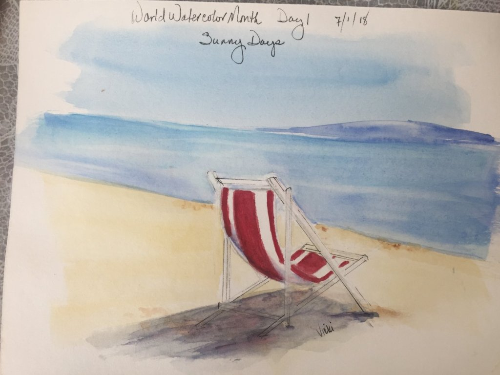 Happy July: #WorldWatercolorMonth Days 3, 1 and 2. Primary colors (cerulean, azo yellow, and cad red