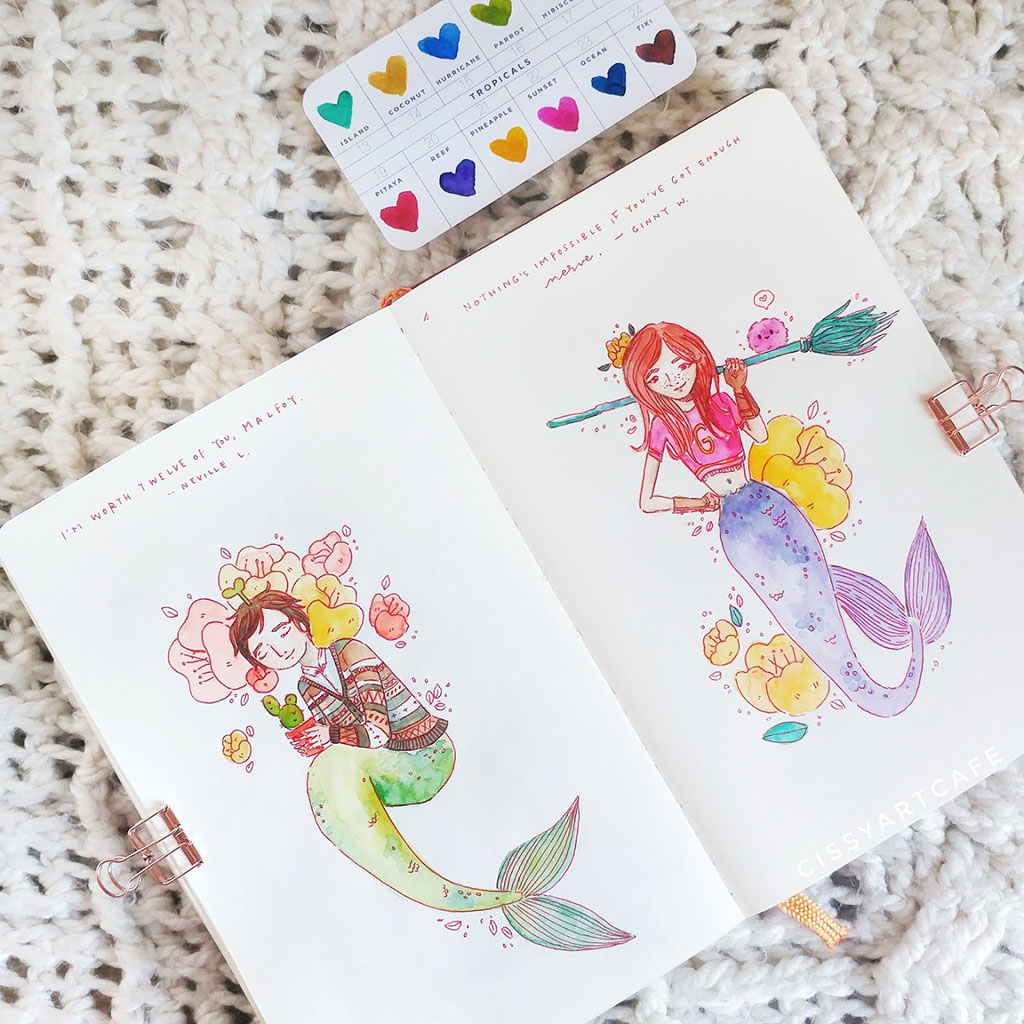 Watercolor Mermaids by Cecile Lu - Doodlewash