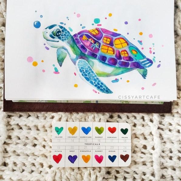 Watercolor Turtle by Cecile Lu - Doodlewash