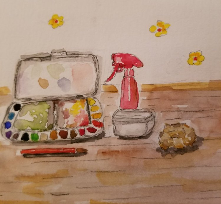 Aug 16 prompt: Travel Paint Kit #doodlewash #doodlewashed #worldwatercolorgroup 20180817_230112