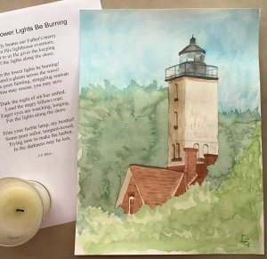 A little behind but here's my Day #7 painting—a lighthouse from around where I grew up. I know i