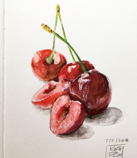 Cherries Watercolor Painting by Kate Plum - Doodlewash