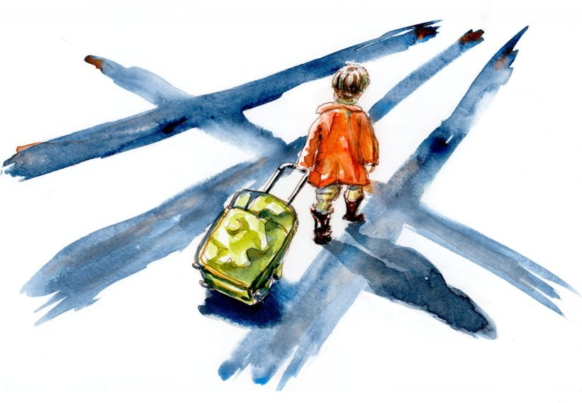 Day 12 - Child With Suitcase Watercolor