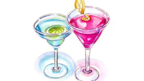 Day 20 - Cocktail Break - Watercolor - Doodlewash