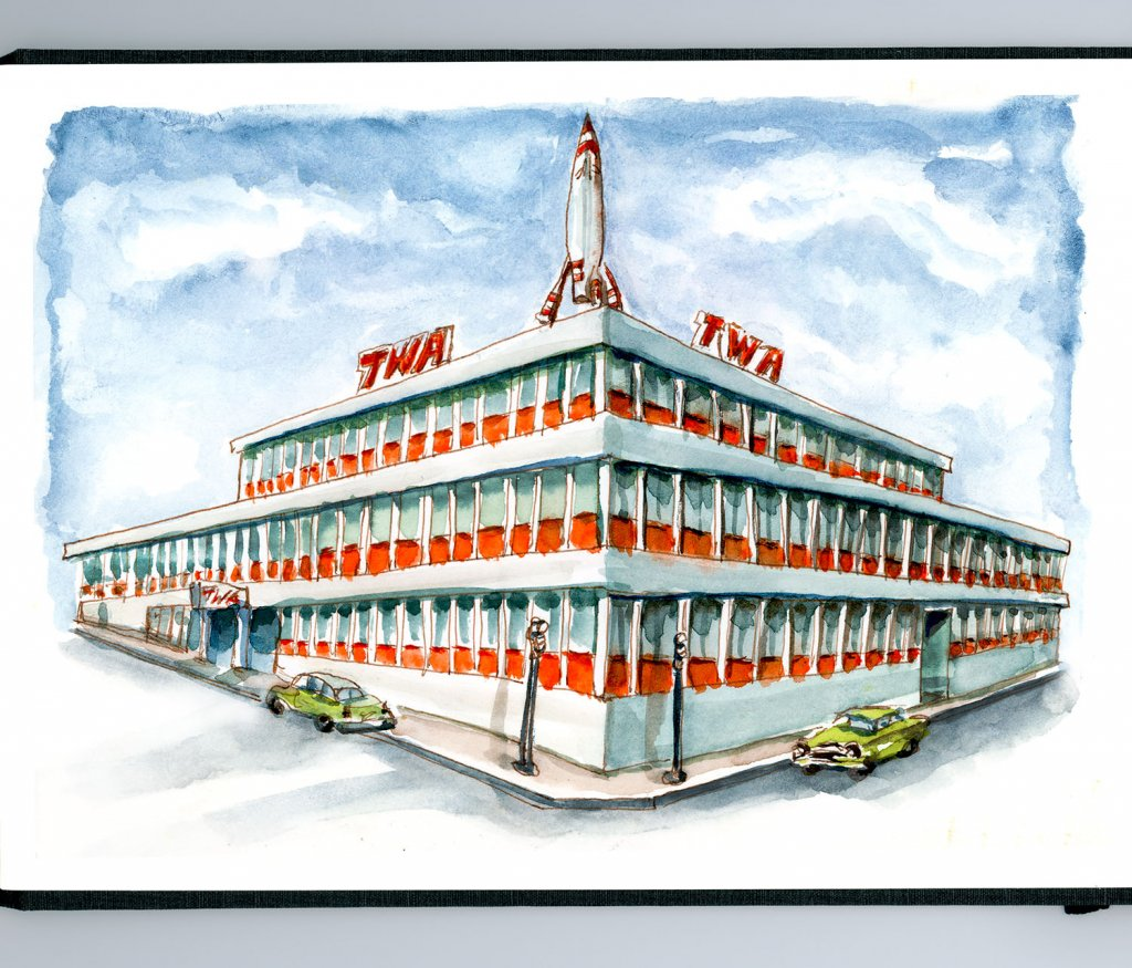 Day 21 - TWA Building Kansas City Watercolor - Doodlewash