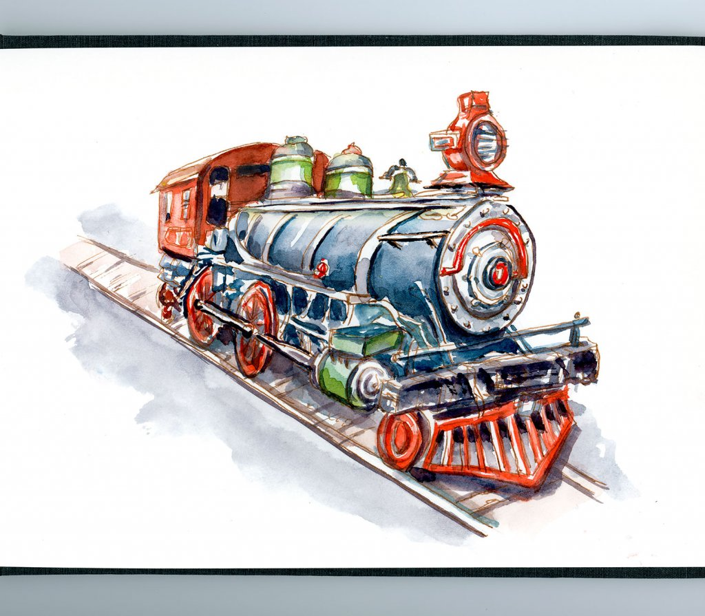 Day 27 - Riding On Toy Trains Watercolor - Doodlewash
