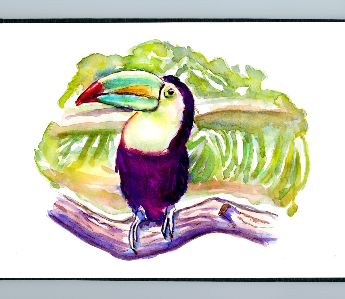 Day 8 - Breakfast Froot Loops Toucan Watercolor_IG_