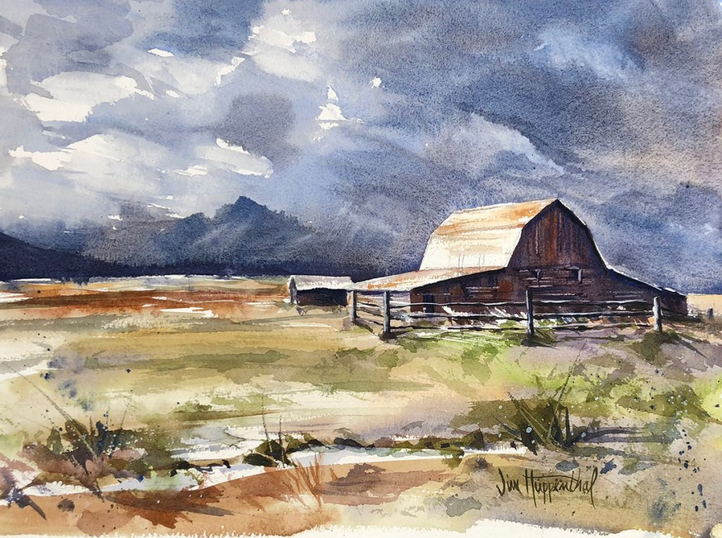 Watercolor Painting by Jim Huppenthal - Barn